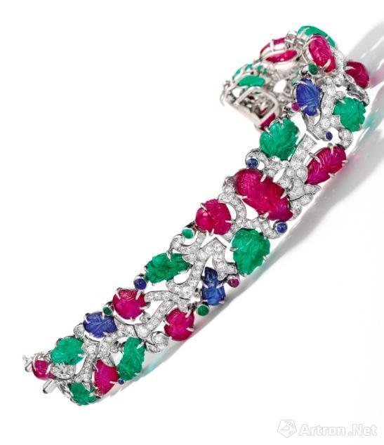 Art Deco 宝石 配 钻石'Tutti Frutti' 手链  卡地亚 估价:1050-1400万港币