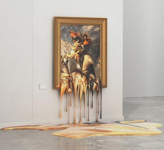 雅克·路易·大卫的作品《拿破仑穿越阿尔卑斯山》最终变成了一滩金黄色的漆