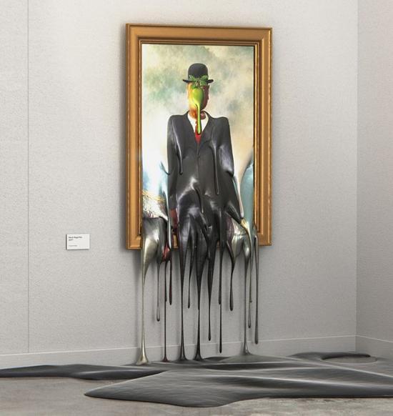 雷尼·马格利特的《戴黑帽的男人》