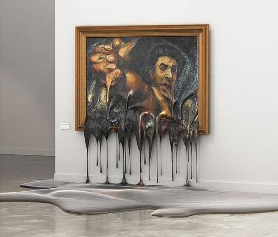 大卫·阿尔法罗·西凯罗斯的自画像融化,滴到了地上