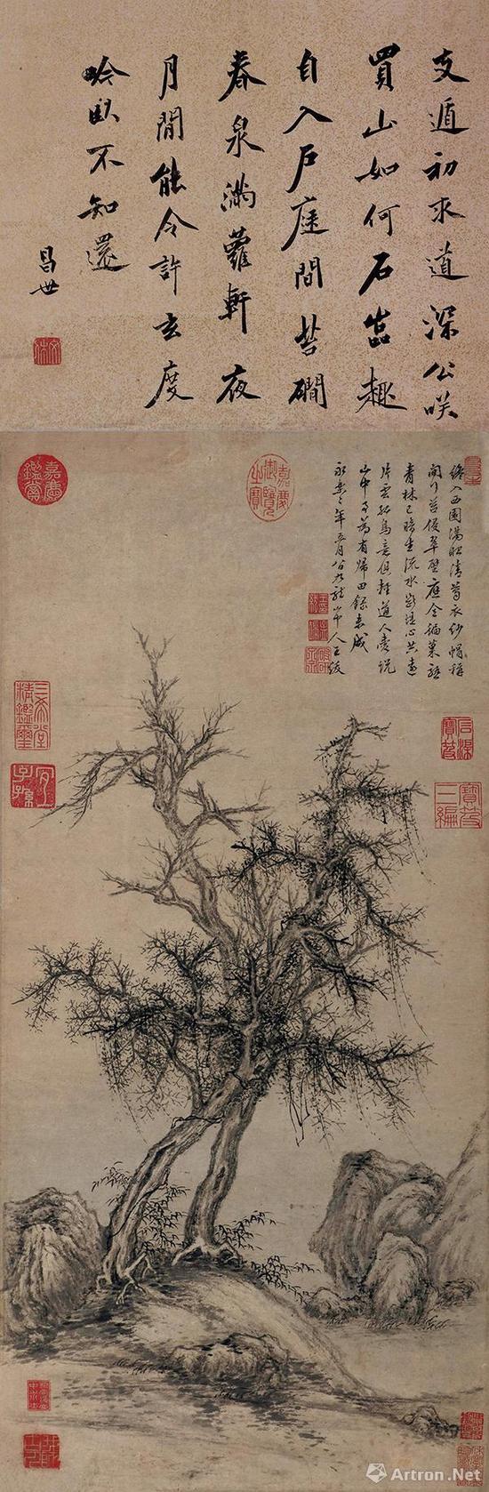 王绂 1404年作《古木竹石》估价:HKD 8,000,000-10,000,000