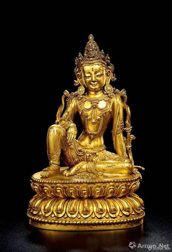 No.5铜鎏金文殊菩萨,成交价:1416万元