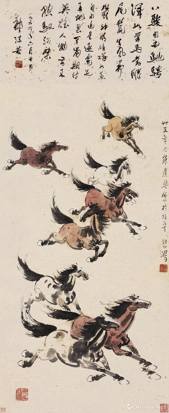 徐悲鸿 1946年作《万马奔腾》 估价:HKD 5,800,000-8,800,000