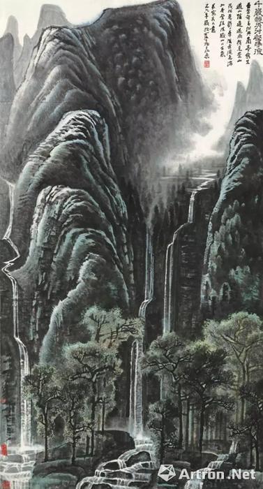 李可染《千岩竞秀万壑争流》1978年作立轴 设色纸本 171×94cm
