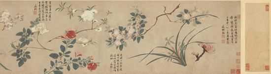 唐寅绘、文征明题《群卉图卷》 2050万港币成交