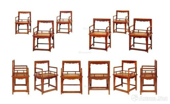 晚明黄花梨玫瑰椅六张成套 成交价:2990万港币