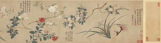 唐寅绘、文征明题《群卉图卷》 成交价:2050万港币