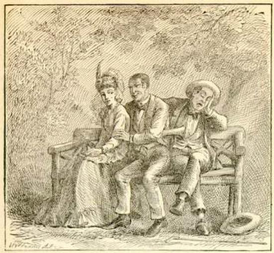 马克吐温短篇故事的插图,表现了一对恋人和永远在一起的电灯泡(这只是比喻,爱迪生那时尚未发明商用白炽灯泡)