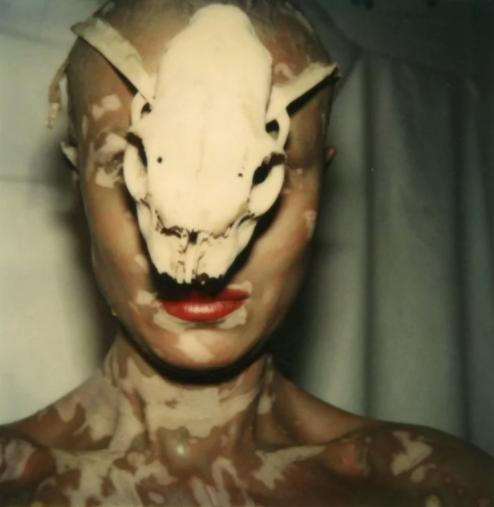 Birgit Jürgenssen,《我和头骨》(Ohne Titel(Selbst mitSch?del)/ Untitled),1979。图片:Hubert Winter画廊