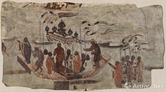 ▲1924年华尔纳从敦煌盗走的唐代壁画,壁画现藏于哈佛艺术博物馆