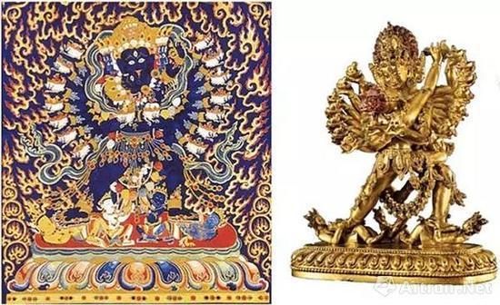 (左)明永乐 喜金刚刺绣唐卡(局部) 西藏拉萨布达拉宫藏(右)明永乐 铜鎏金吉祥喜金刚 (侧面)