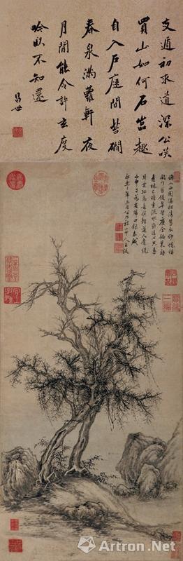 王绂(1362~1416)《古木竹石》1404年作 镜心 水墨纸本
