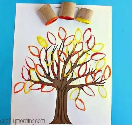 卷纸芯压扁之后切口就是最自然地树叶型。