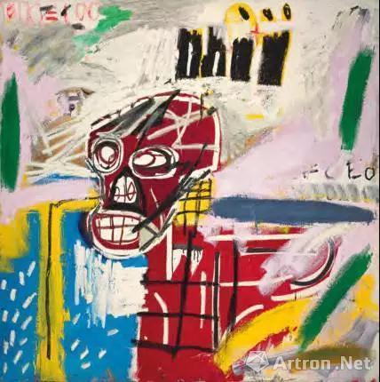 尚 米榭 巴斯奇亚(1960-1988) 《红骷髅》 压克力 油彩棒 纸本拼贴 画布