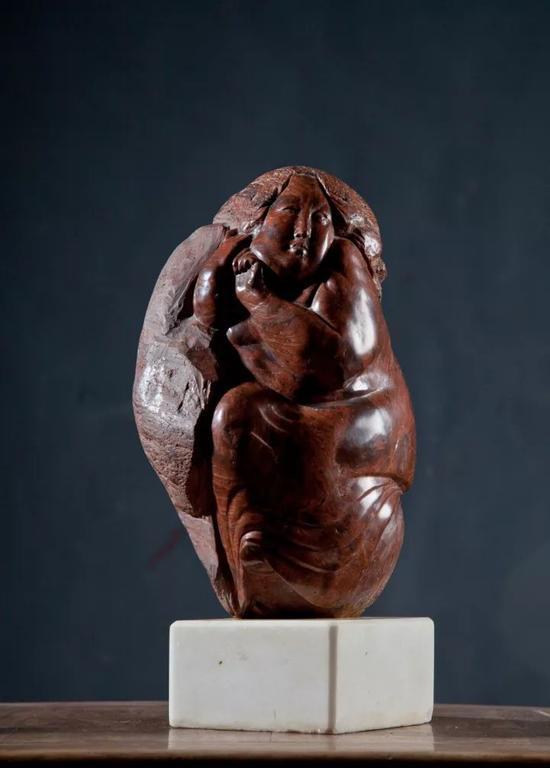 《唐女系列》之一  红卵石   24x16x13cm 1996年