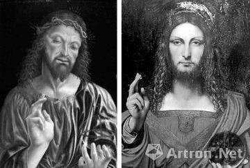 达·芬奇用了七年时间画成的《救世主》原画(左)与复原前的《救世主》(右)
