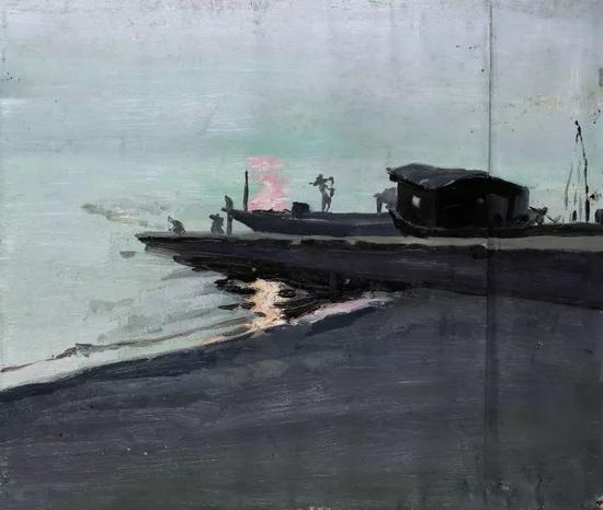 《铜仁锦江写生》纸面油画  39x46cm  1981年