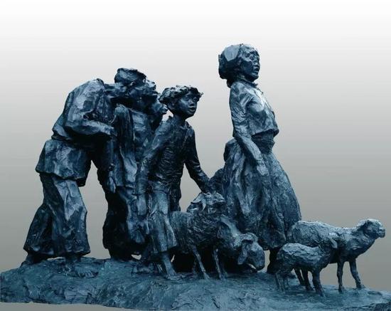 《山路》系列之二(六人五羊)  铜  90x100x155cm 1997年