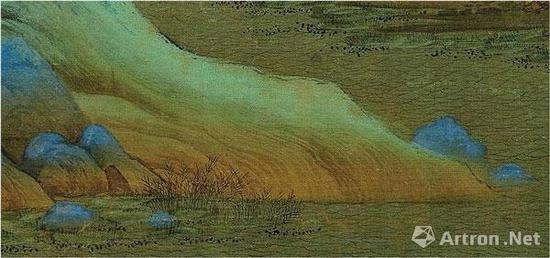 《千里江山图》坡脚的麻皮皴