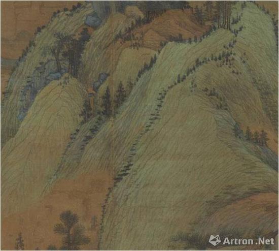 董源(传)《江堤晚景图》中疏松的皴线