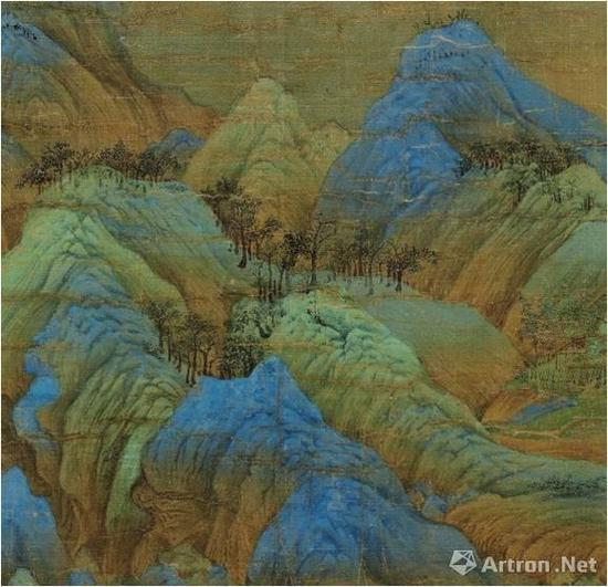 《千里江山图》仿佛没骨画法的峰峦