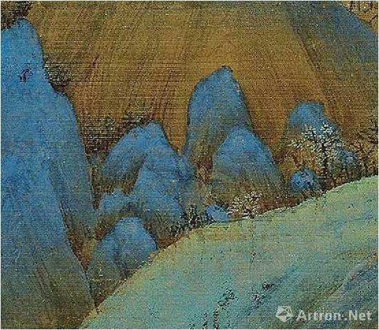 《千里江山图》用浓重石青涂染的山间石块