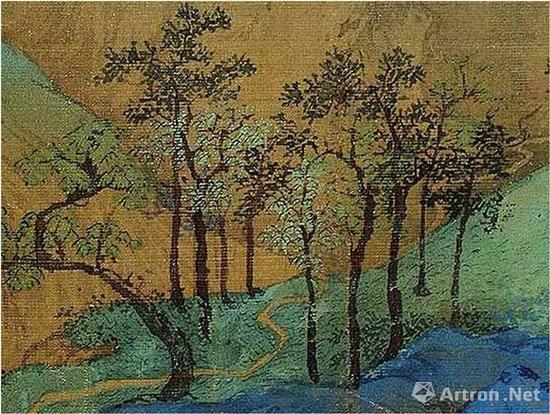 《千里江山图》近乎黑色的树干