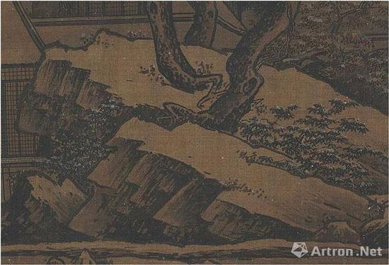 """刘松年《四景山水图》""""冬景""""中的岩崖"""