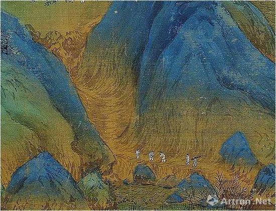 《千里江山图》用皴线排叠出山路野径