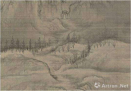 王诜《渔村小雪图》用皴线排叠出的山路野径