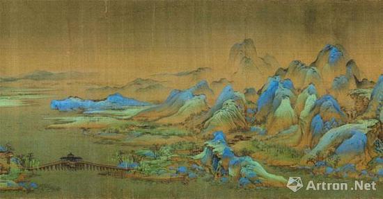 《千里江山图》长卷, 绢本设色,纵51.5cm,横1191.5cm,北京故宫博物院馆藏。上图为局部图。