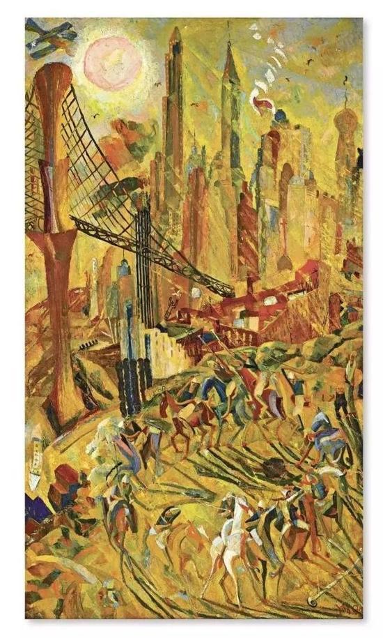 旅美华裔画家朱沅芷的《工业之轮在纽约》成交价达1.0528亿港元