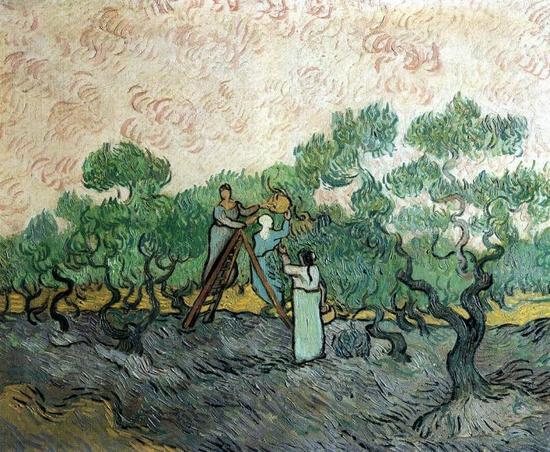 梵高画作「摘橄榄的人」下落不明。据说最后一次出现在瑞士洛桑的仓库中。 图片来源:维基百科