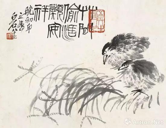 草间鹌鹑 30×39cm 纸本墨笔 1944年