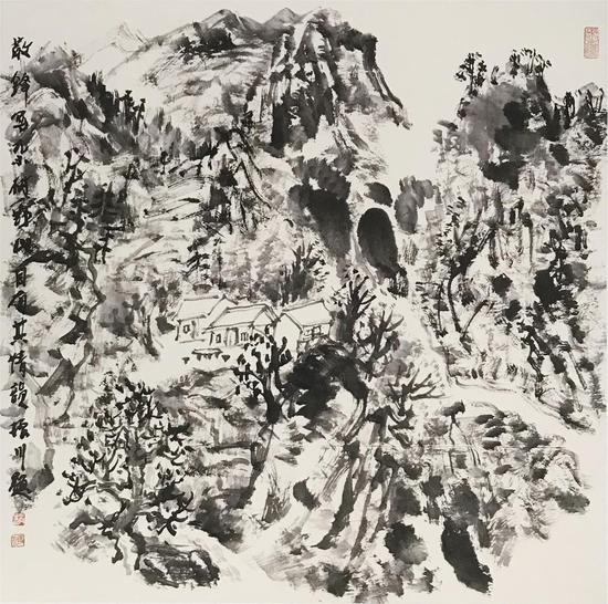 《散锋写杂树野山自有其情韵》[68cmX68cm]2015年