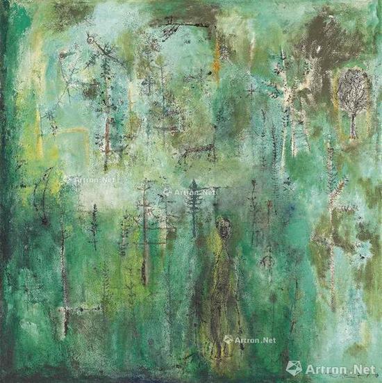 赵无极《翠绿森林》油彩画布 127×127.5cm约1950年作 2016香港佳士得春拍成交价: 7068万港元