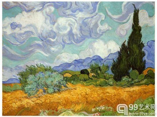 6.《麦田与柏树》(A Wheatfield with Cypresses ,1889),5700万美元