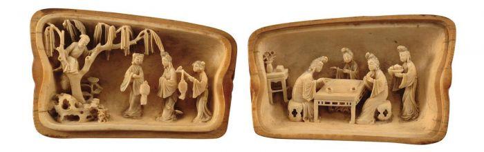 明代象牙人物故事瓜形盒