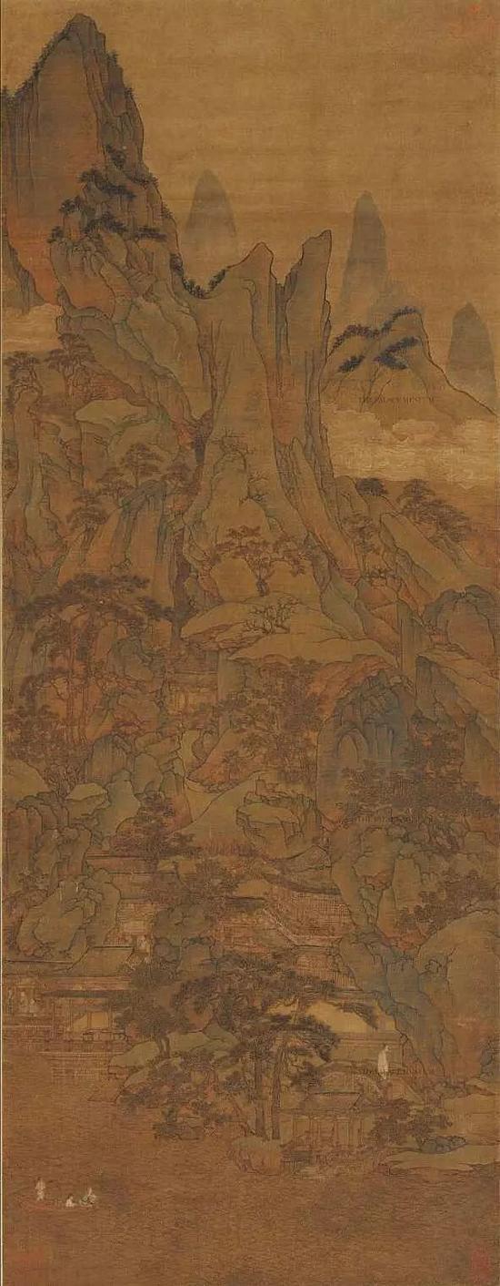 胡廷晖《春山泛艇图》 绢本,青绿设色,纵143cm,横55.5cm,北京故宫博物院藏