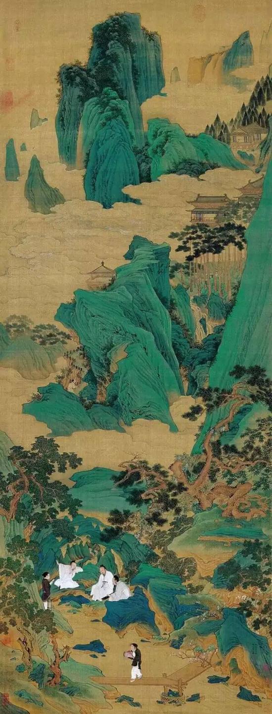 仇英《玉洞仙源图》轴,绢本,设色,纵169cm,横65.5cm,北京故宫博物院藏