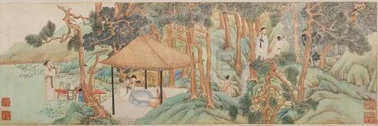文征明《惠山茶会图》,绢本,设色,纵21.9cm,横67cm,北京故宫博物院藏