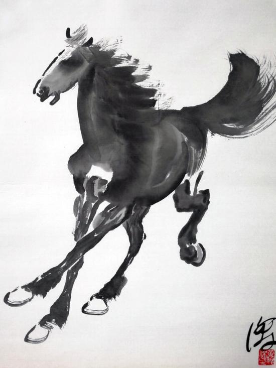 图 黄俊杰先生绘制的《墨舞·奔马图》