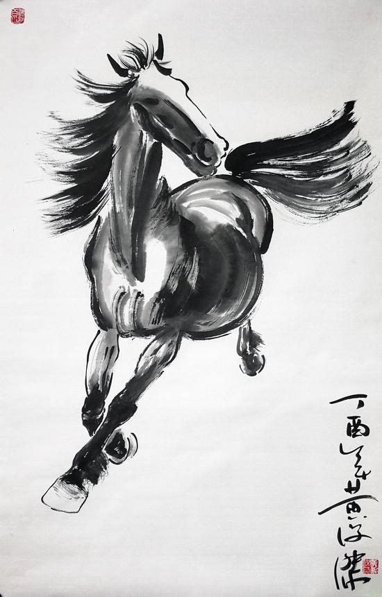 图 黄俊杰先生绘制的《一往无前·奔马图》
