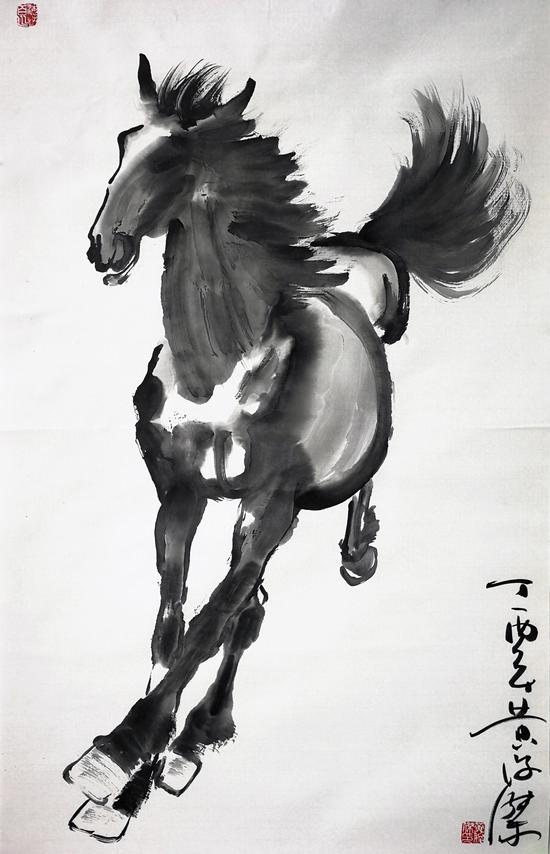 图 黄俊杰先生绘制的《王者·奔马图》