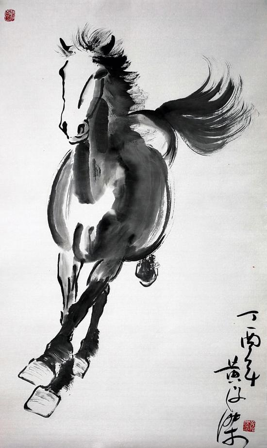 图 黄俊杰先生为第二届全球品牌大会创作的《骏马飞扬新时代》的作品