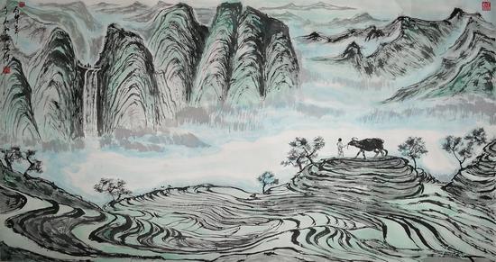 图 黄俊杰先生绘制的中国梯田山水艺术《牧童看山图》