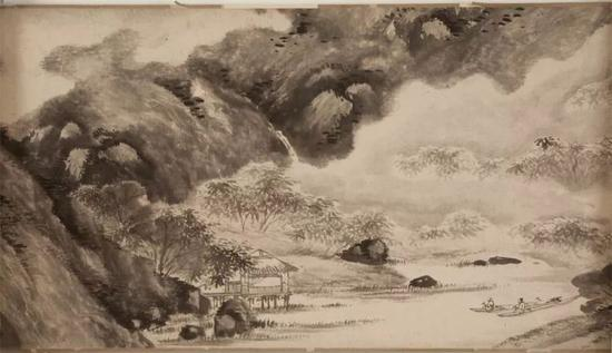 陈淳,《罨画山图》局部,天津博物馆藏,正在南京博物院展出