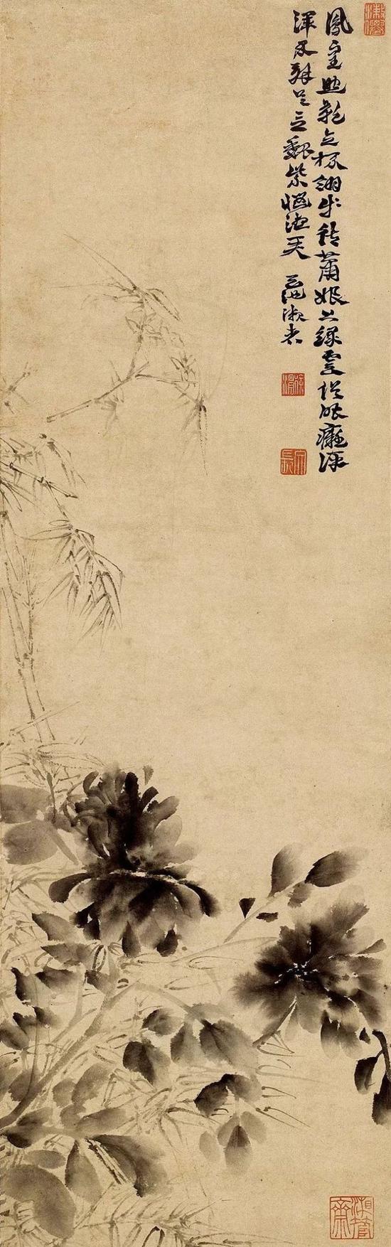 徐渭,《墨竹牡丹图》轴,纸本水墨,立轴,纵106厘米,横32.5厘米