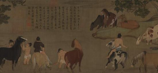 赵孟頫《浴马图卷》