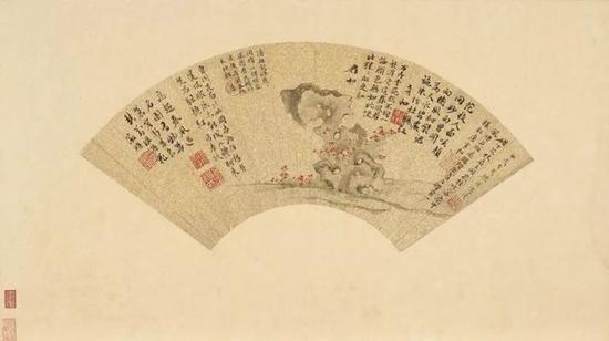 陈淳,《湖石花卉扇面》,台北故宫博物院藏